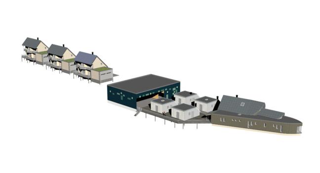 Trois maisons individuelles (RT2012-BEPAS-BEPOS), 2 ateliers gros œuvre bois, 4 ateliers second œuvre, un centre de documentation