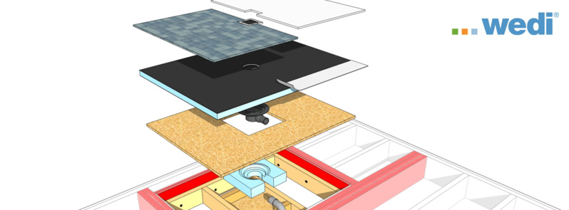 DOUCHE DE PLAIN-PIED  EN CONSTRUCTION BOIS  une collaboration BOIS PE & WEDI
