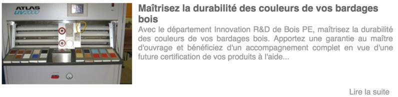 Les références Innovation et R&D de Bois PE