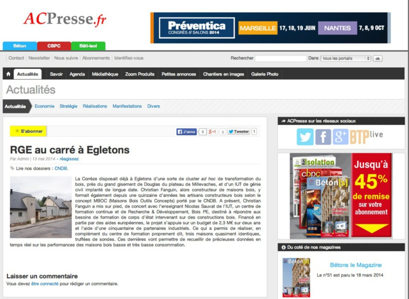 AC-Presse : RGE au carré à Égletons