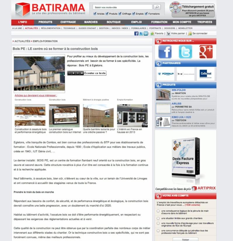Batirama : Bois PE : LE centre où se former à la construction bois