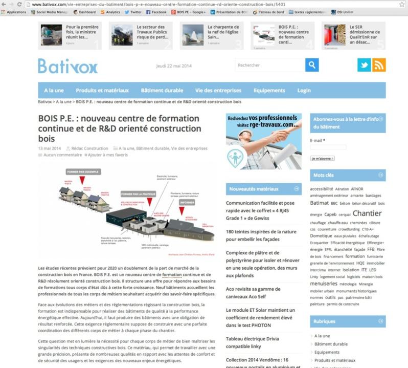 BatiVox : BOIS PE : nouveau centre de formation continue et de R&D orienté construction bois