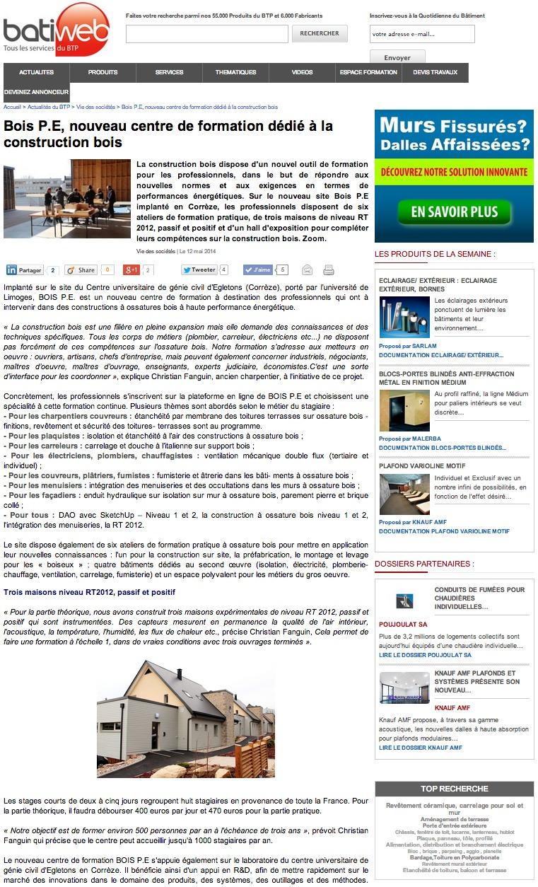 Batiweb : Bois P.E, nouveau centre de formation dédié à la construction bois