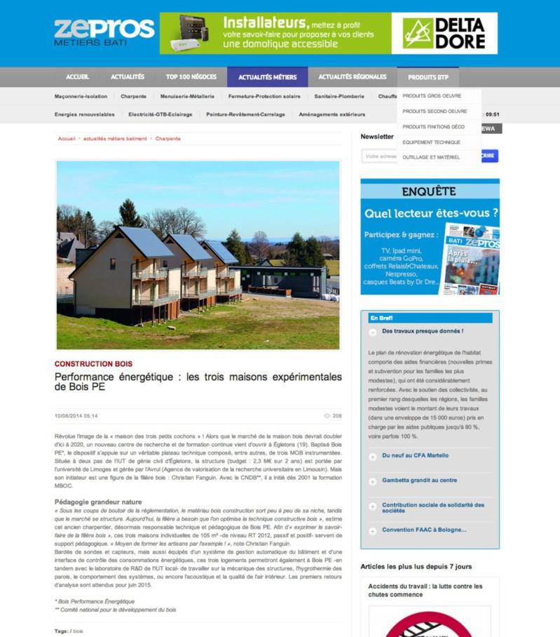 ZePros : Performance énergétique : les trois maisons expérimentales de Bois PE