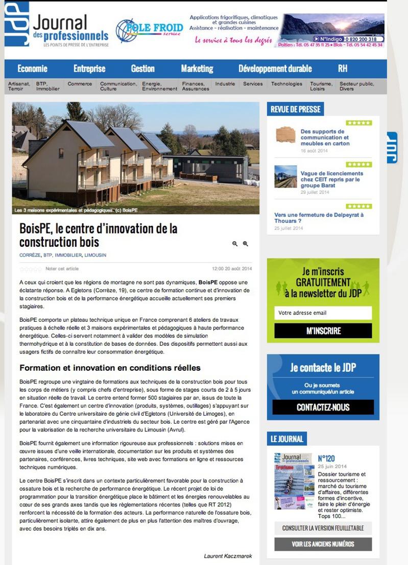 Le Journal des professionnels : BoisPE, le centre d'innovation de la construction bois