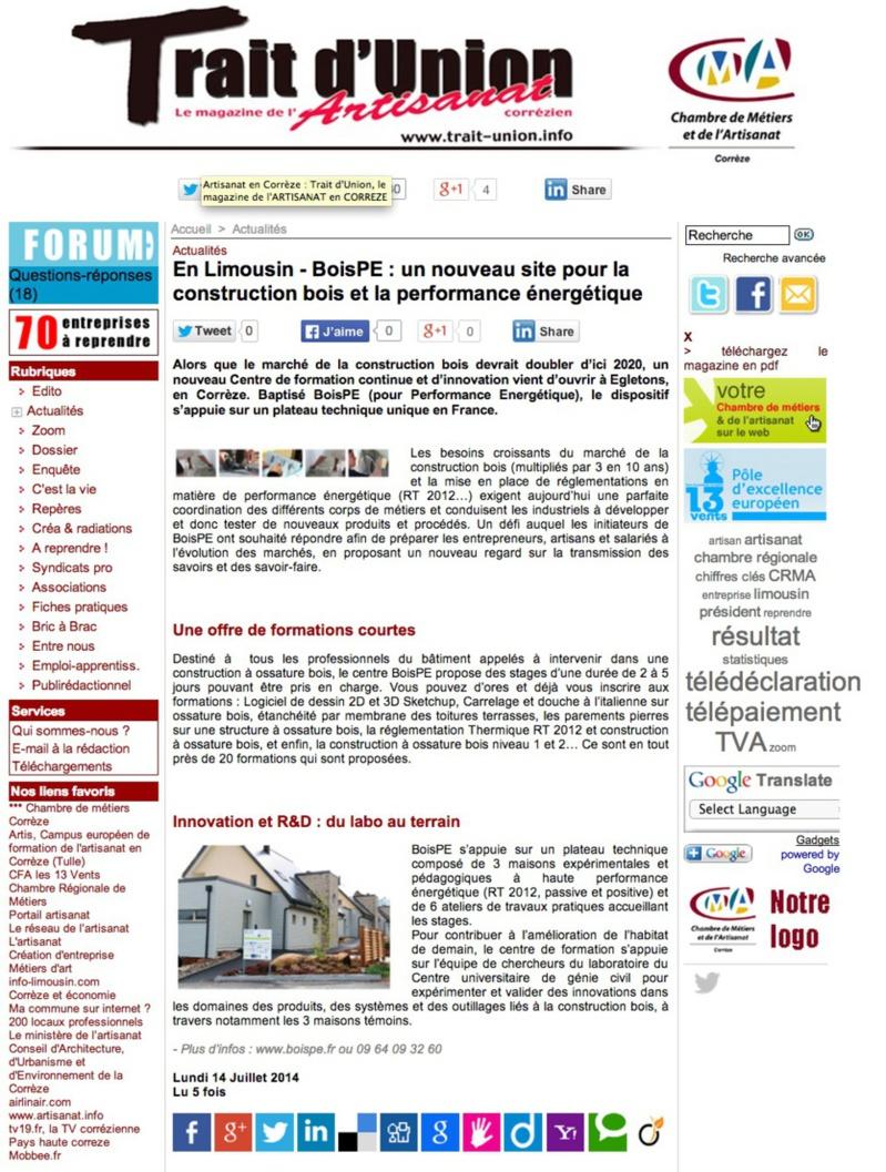 Trait d'Union de l'artisanat : En Limousin - BoisPE : un nouveau site pour la construction bois et la performance énergétique