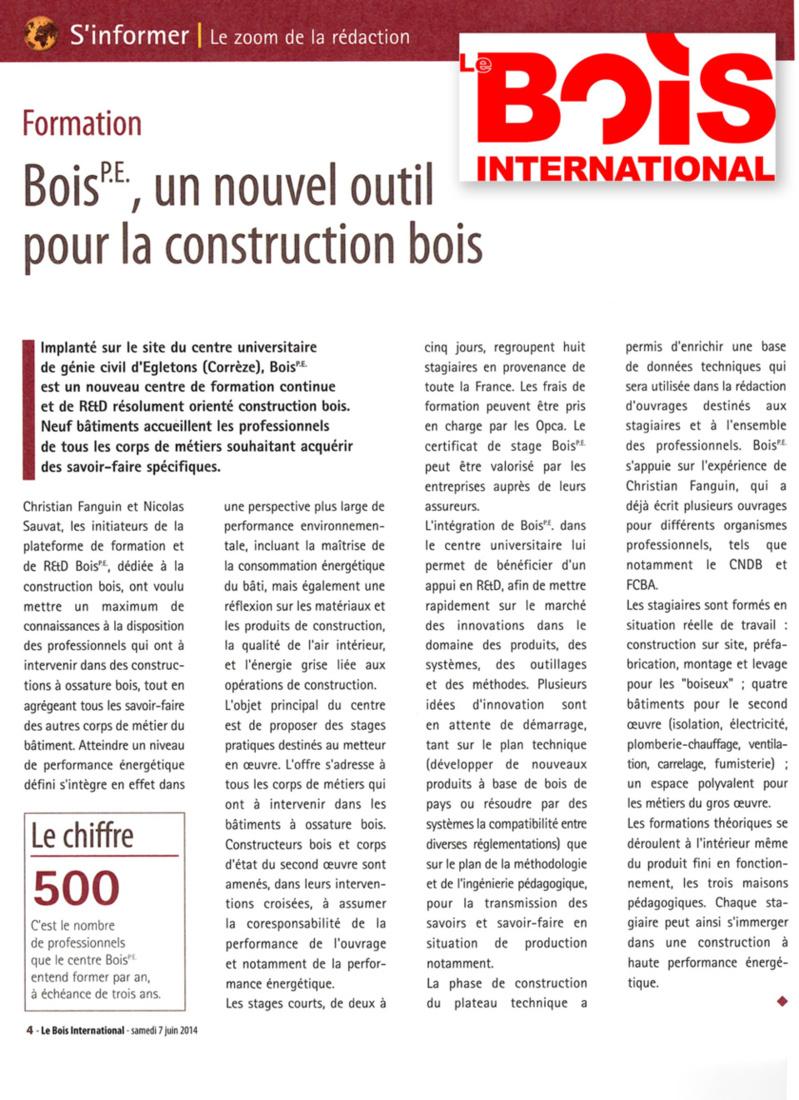 Le Bois international : Bois PE, un nouvel outil pour la construction bois