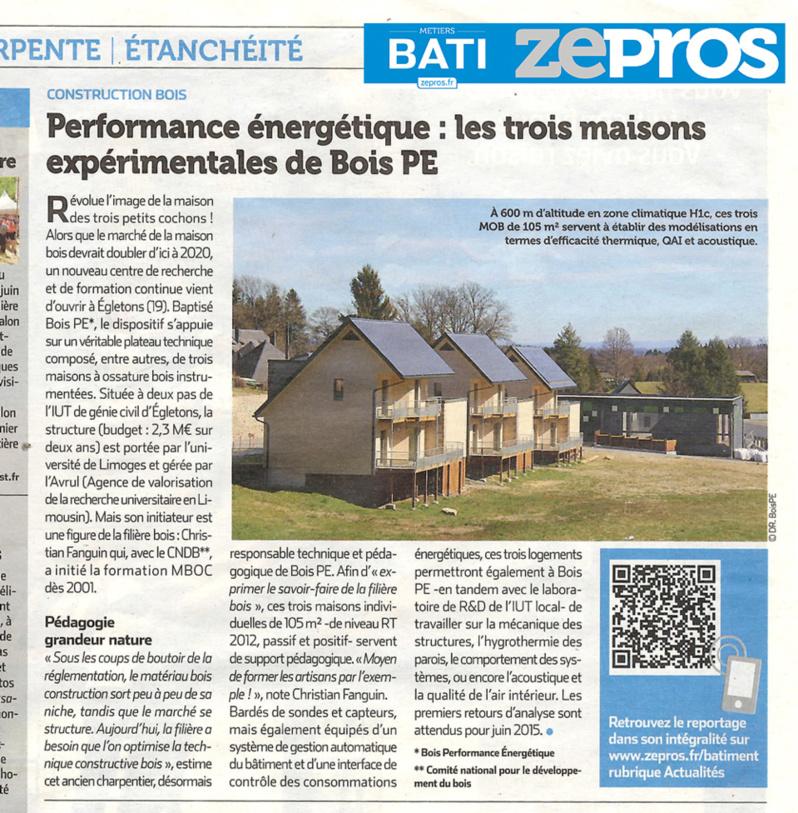 Zepros : Performance énergétique, les trois maisons expérimentales de Bois PE