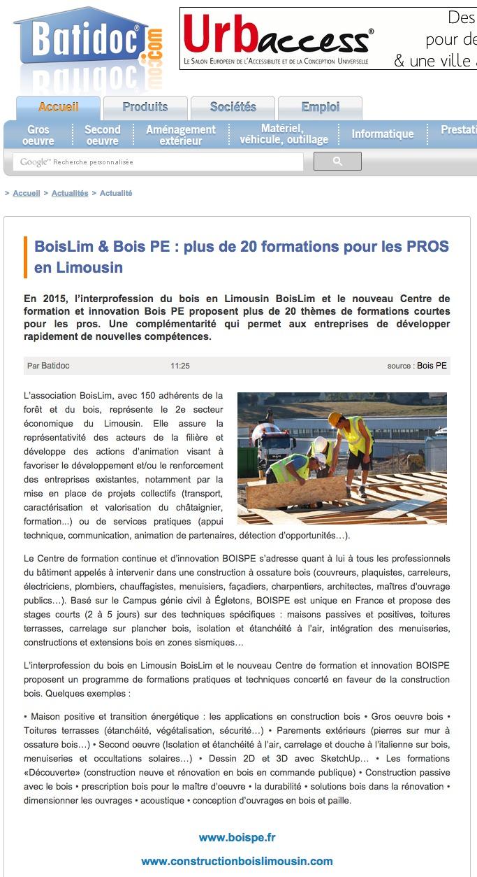 BATIDOC > BoisLim & Bois PE : plus de 20 formations pour les PROS en Limousin
