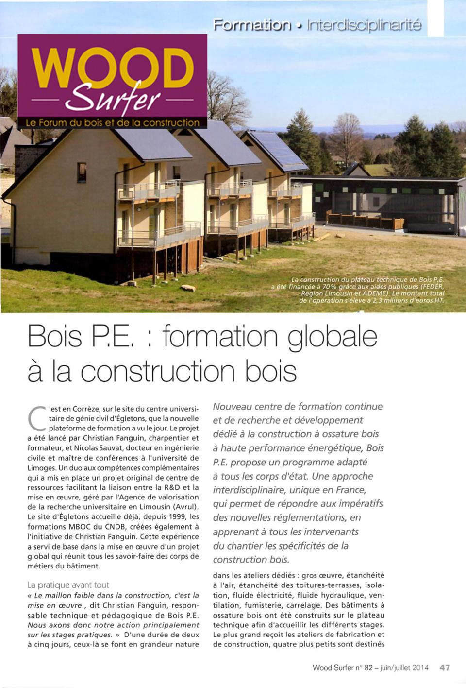 Wood Surfer Bois PE, formation globaleà la construction bois # Formation Construction Bois