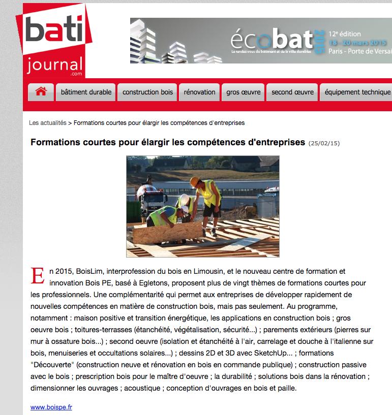 BATI-JOURNAL : Formations courtes pour élargir les compétences d'entreprises