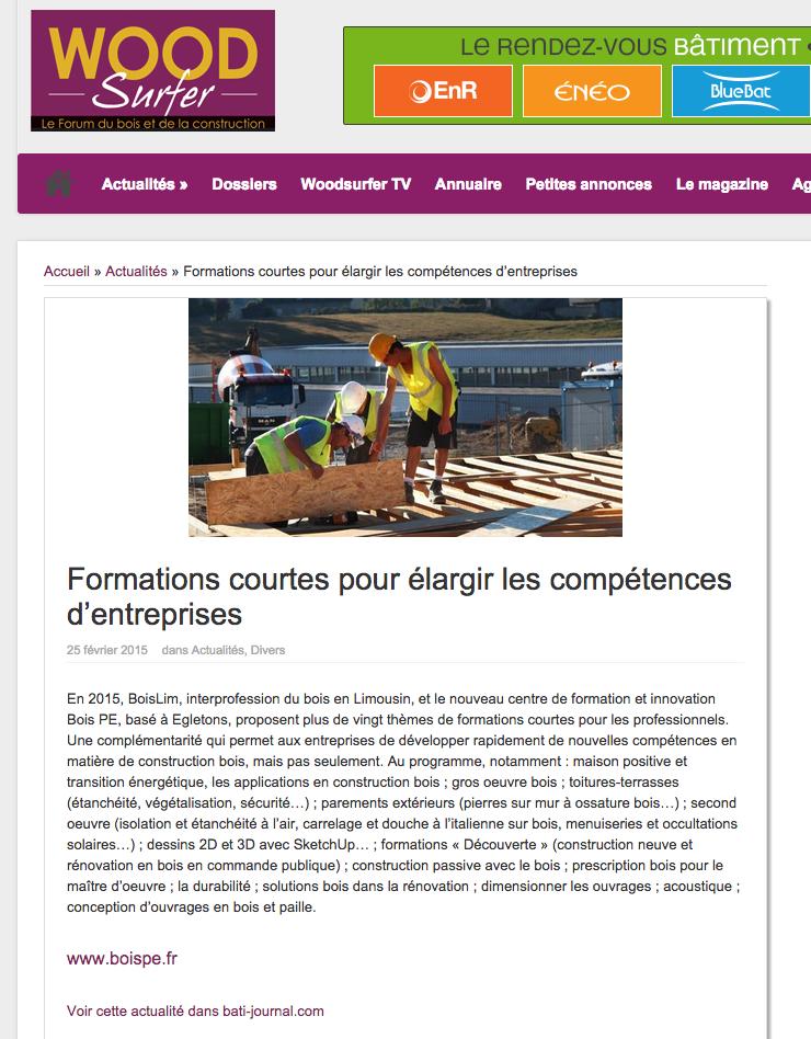 WoodSurfer : Formations courtes pour élargir les compétences d'entreprises