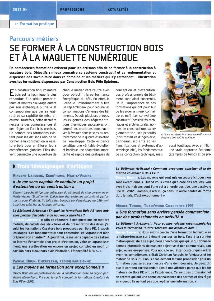 """Le Bâtiment artisanal : """"Se former à la construction bois et à la maquette numérique"""""""
